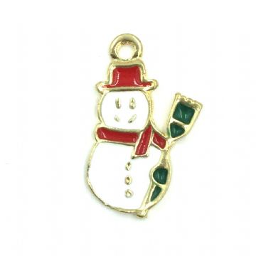 Christmas charm - gold snowman with brush - white with red hat - 10mm x 18mm